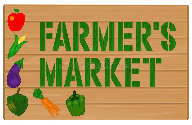 Vegetables and Farmers Market Painted on Wood Sign. Assorted vegetables and fruit painted on a wooden sign with the words Farmers Market royalty free illustration
