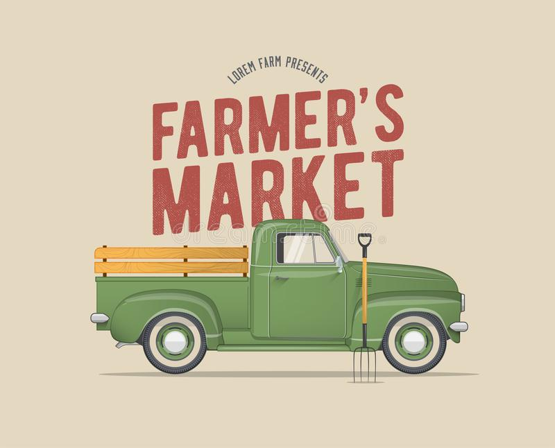 Farmer`s Market Themed Vintage styled Vector Illustration of the old school Farmer`s Green Pickup Truck royalty free illustration
