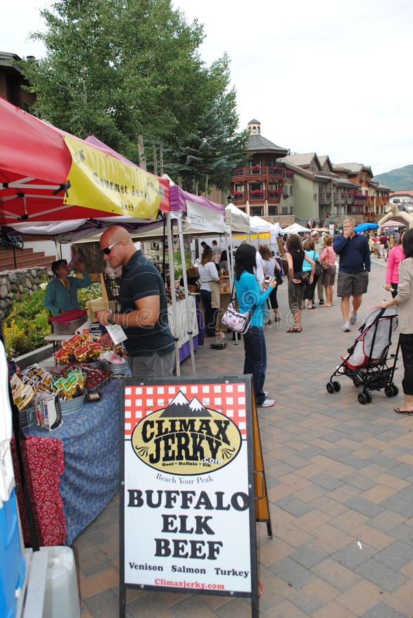 Farmer's market in Vail, Colorado. Vail, Colorado is a popular resort town in the United States. It's known for it's skiing in the winter time, and for abundant stock photography