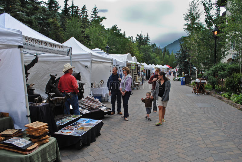Farmer's market in Vail, Colorado. Vail, Colorado is a popular resort town in the United States. It's known for it's skiing in the winter time, and for abundant stock photo
