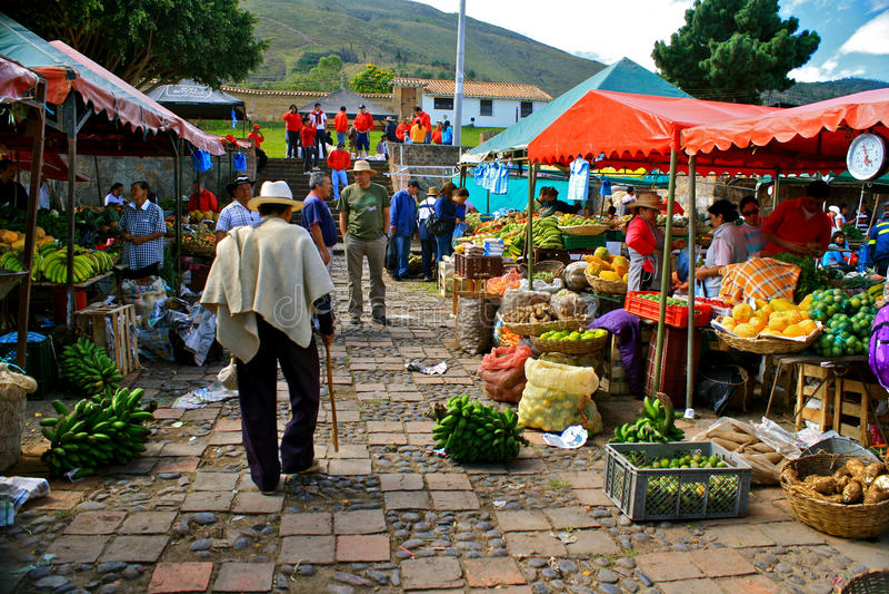 Farmer´s market, Villa de Leyva, Colombia stock photo