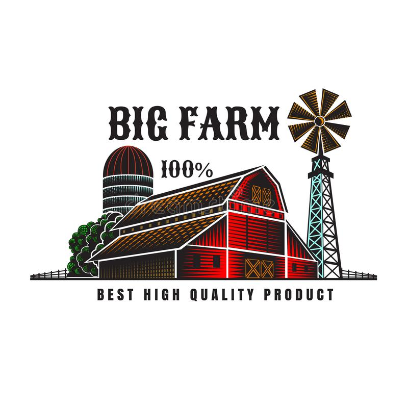 Farmer`s windmill and barn retro color style vintage label isolated vector illustration