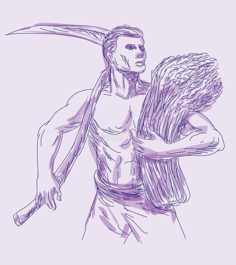 Farmer with Scythe And Wheat Harvest. Hand drawn sketch illustration of a farmer with scythe and holding wheat crop harvest stock illustration