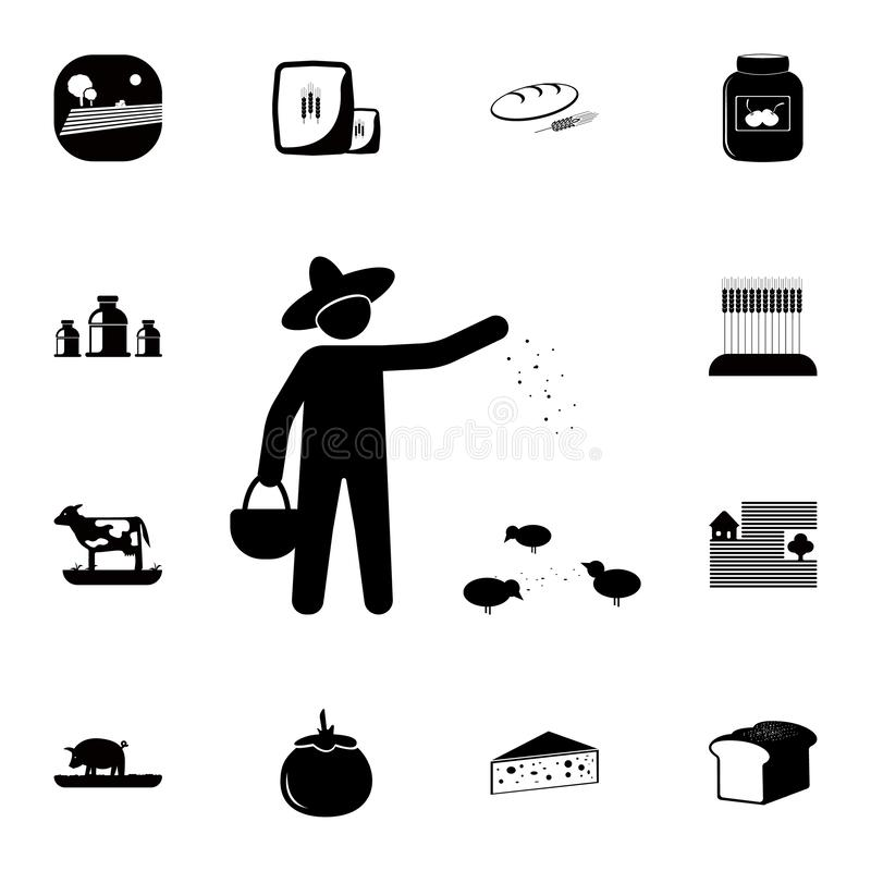 The farmer sows the grain icon. Detailed set of farm icons. Premium quality graphic design icon. One of the collection icons for w. Ebsites, web design, mobile vector illustration
