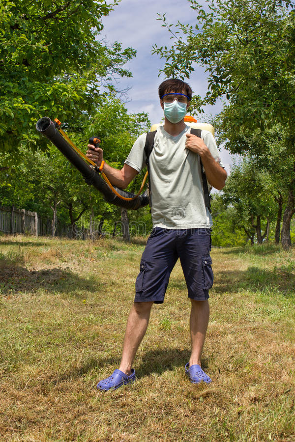 Download Farmer with a sprayer stock image. Image of leaf, poison - 25663711