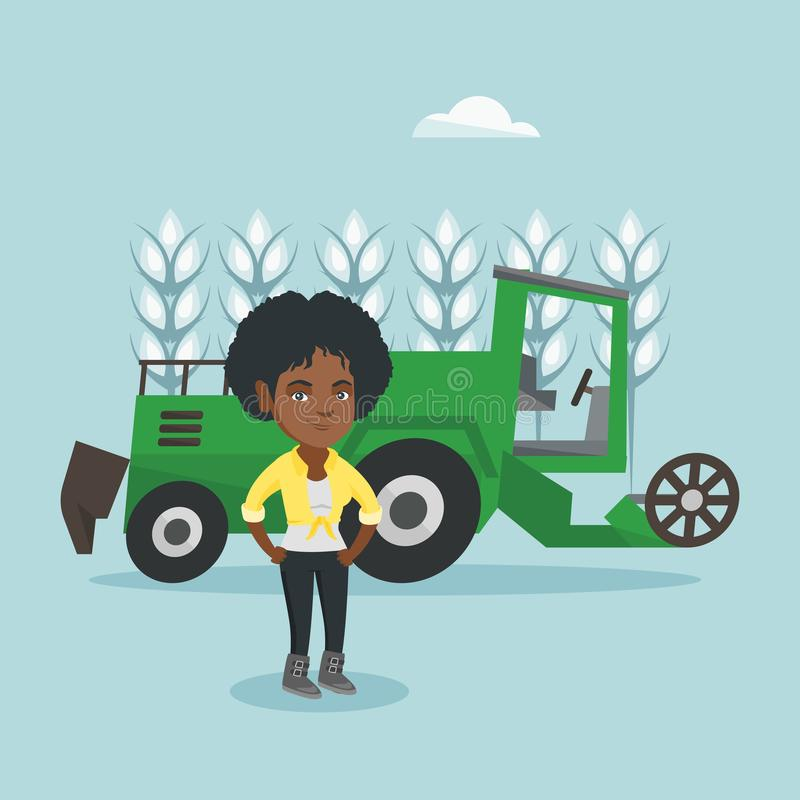 Farmer standing on the background of combine. Young african-american farmer standing on the background of combine harvester working in a wheat field. Vector stock illustration