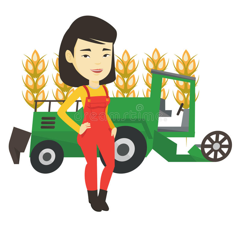 Farmer standing with combine on background. Asian farmer standing on the background of combine harvester working in wheat field. Young farmer and combine vector illustration