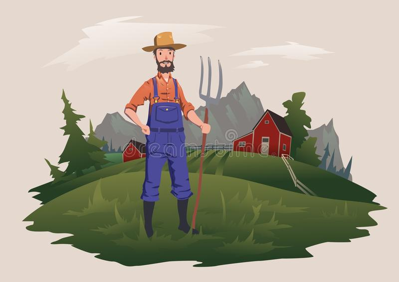 Farmer standing with a pitchfork on the farm. Mountain rural landscape in the background. Ranchman character, vector royalty free illustration
