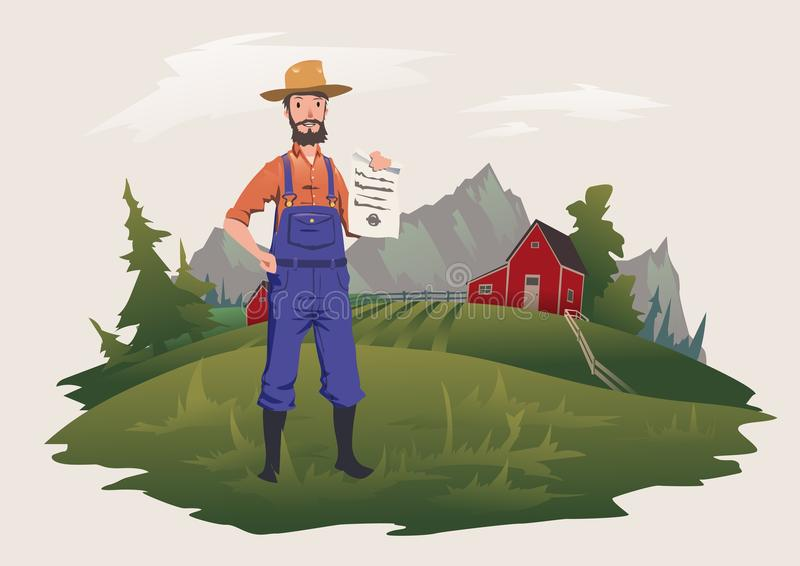The farmer stands on the farm and holds a paper document. Private ownership or insurance. Vector illustration, vector illustration