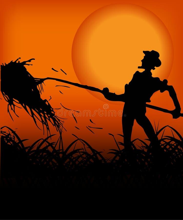 Farmer in the sunset vector illustration