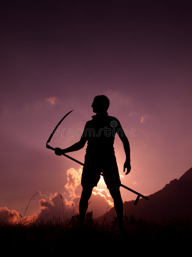 Download Farmer At Sunset Stock Image - Image: 6158231
