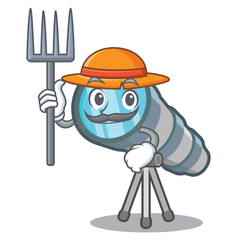 Farmer telescope isolated with in the mascot. Vector illustration stock illustration