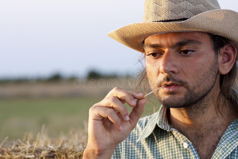 Farmer Thinking with Straw royalty free stock images