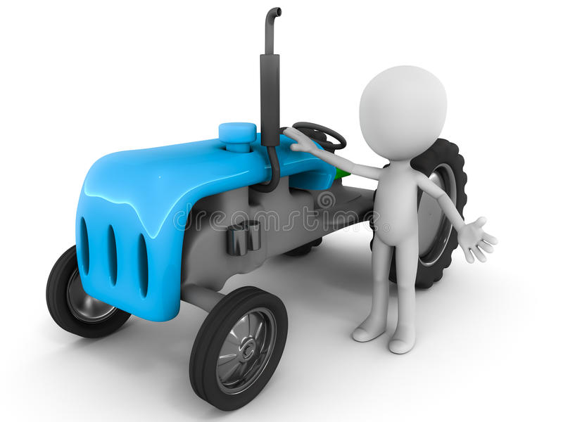 Farmer and tractor. A farmer and tractor, 3d little man standing with a 3d model of a blue tractor against white background, agriculture, farming and vector illustration