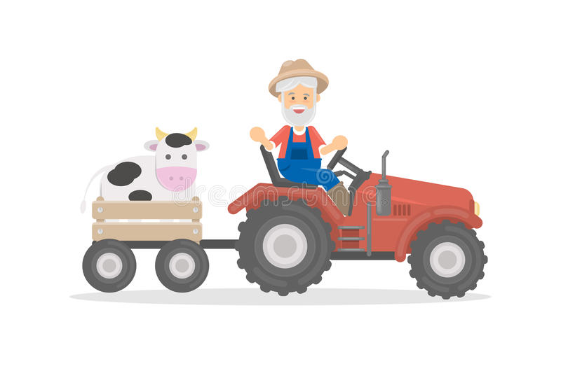 Farmer on tractor. Farmer on tractor with cow on white background royalty free illustration