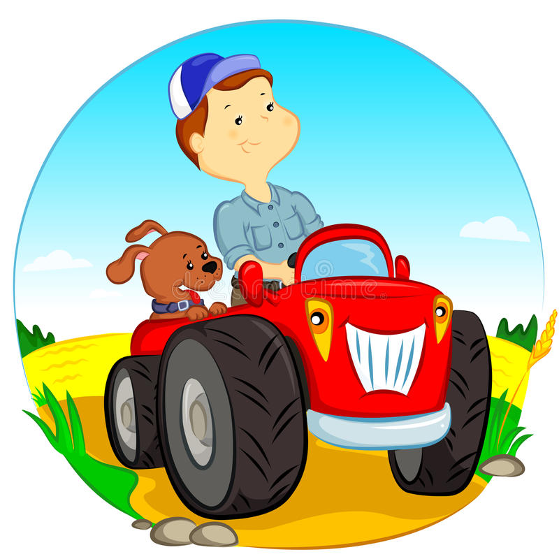 The farmer on the tractor. The farmer and the dog ride in the tractor stock illustration
