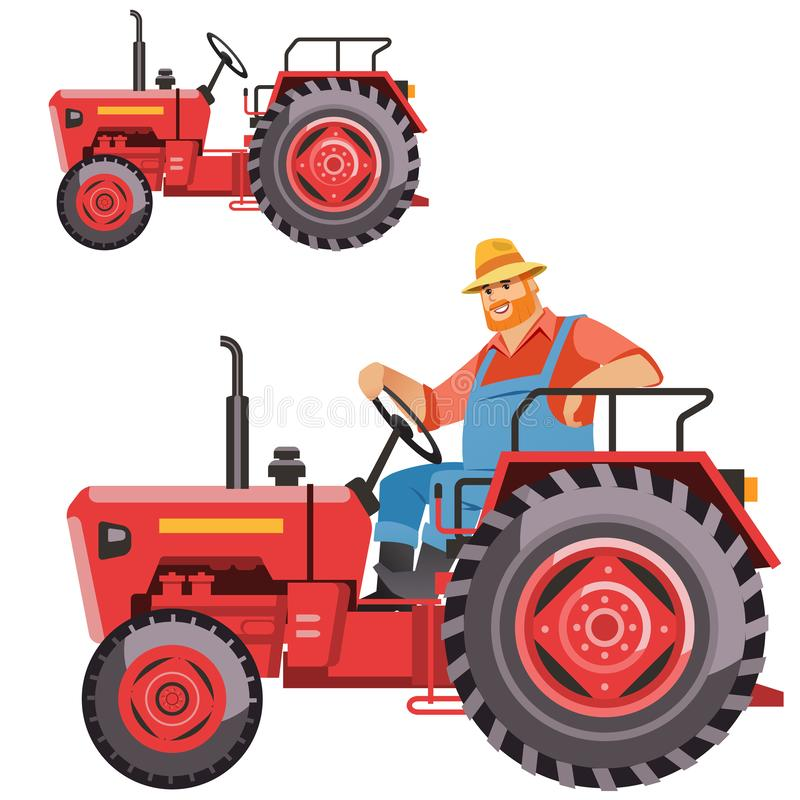Farmer tractor driving, isolated vector illustration royalty free illustration