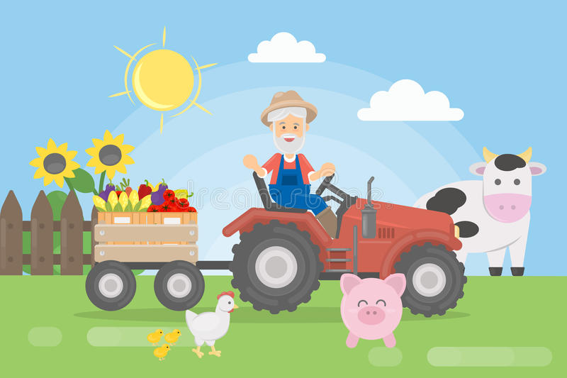 Farmer on tractor. Farmer on tractor with harvest and animals royalty free illustration