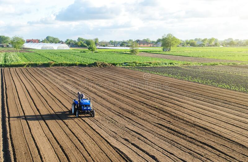 A farmer on a tractor processes a farm field. Farming and agriculture. Preparing the land for a new crop planting. Loosening the royalty free stock photography