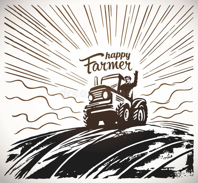 Farmer in the tractor waving his hands. Farmer on the tractor, waving his hands, to the top of the hill against the backdoor of the sunrise, vector illustration stock illustration