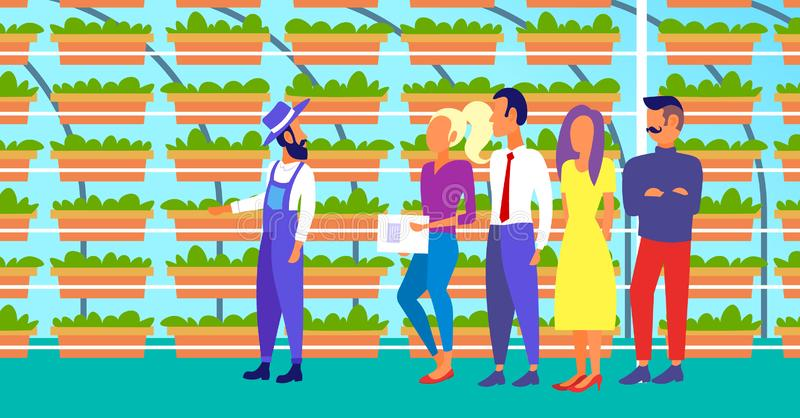 Farmer in uniform with agriculture engineers group inspecting growing plants vertical farm organic hydroponic vegetables. Modern greenhouse interior horizontal stock illustration