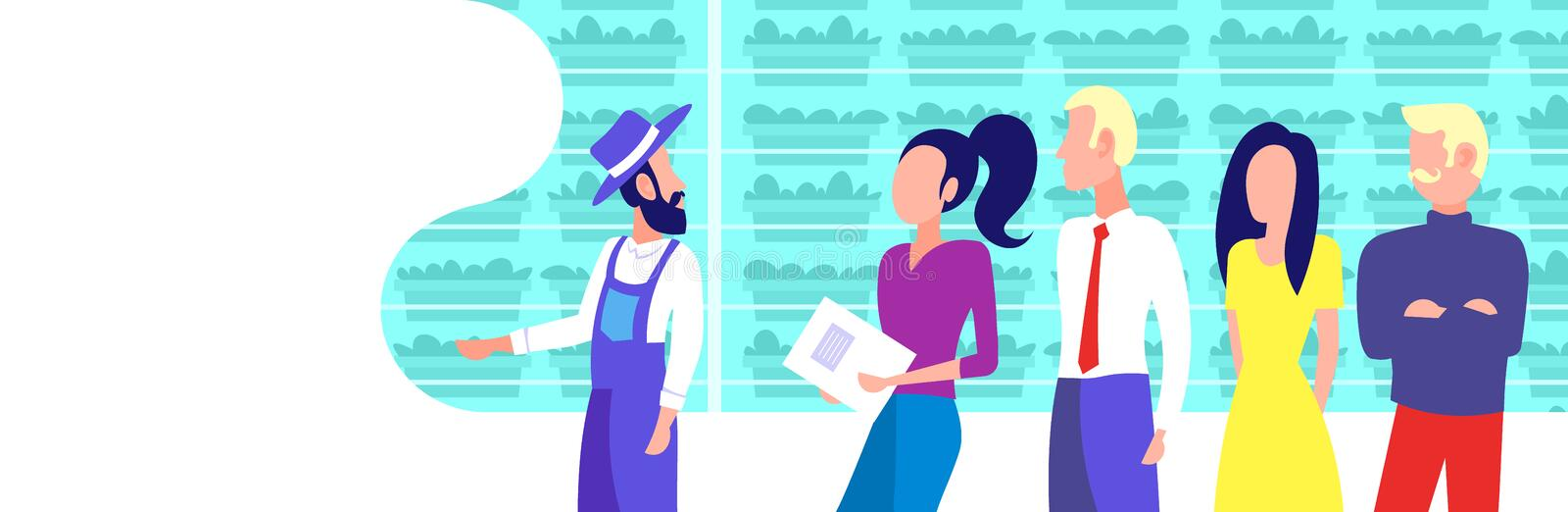 Farmer in uniform with agriculture engineers group inspecting growing plants vertical farm organic hydroponic vegetables. Modern greenhouse interior horizontal vector illustration