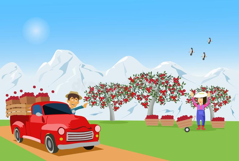 farmer was driving an apple truck from the garden to sell his wife standing there. With white snow mountains in the background stock illustration