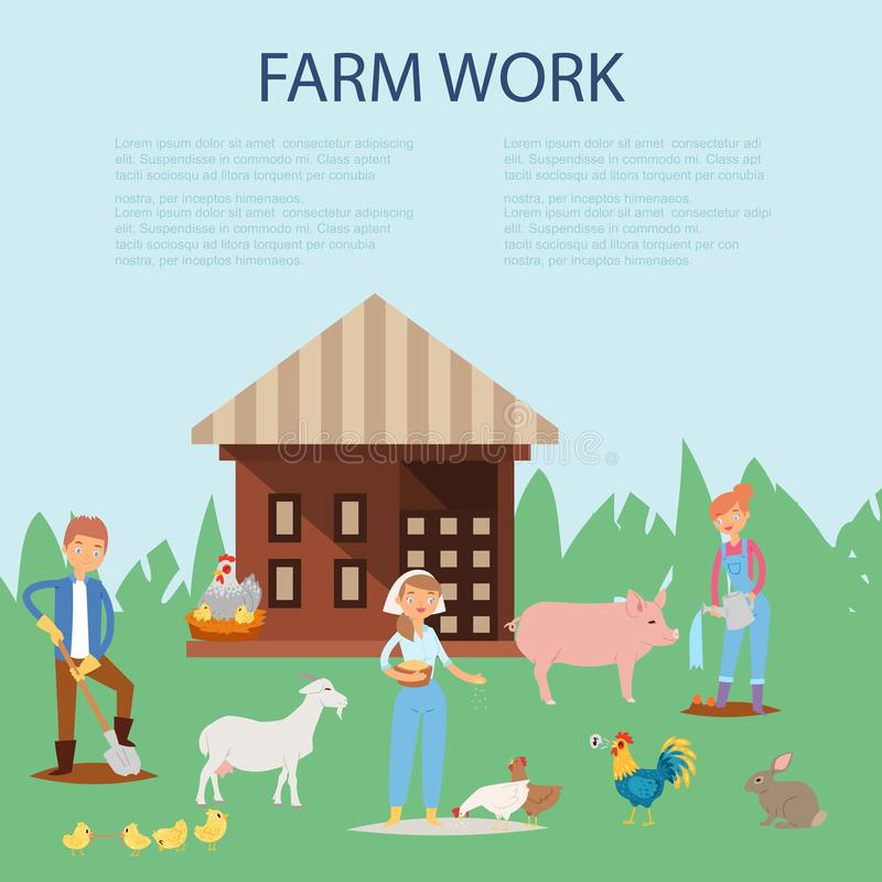 Farmer working at farm, caring for pig, goat, chickens vector illustration. Farming working people and animals on rural royalty free illustration