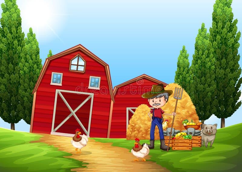 Farmer working in the farm outside. Illustration royalty free illustration