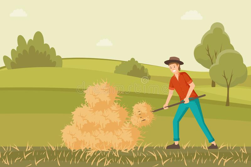 Farmer working on hayfield vector illustration. Young rancher collecting haystack with pitchfork cartoon character. Farmer working on hayfield flat illustration vector illustration