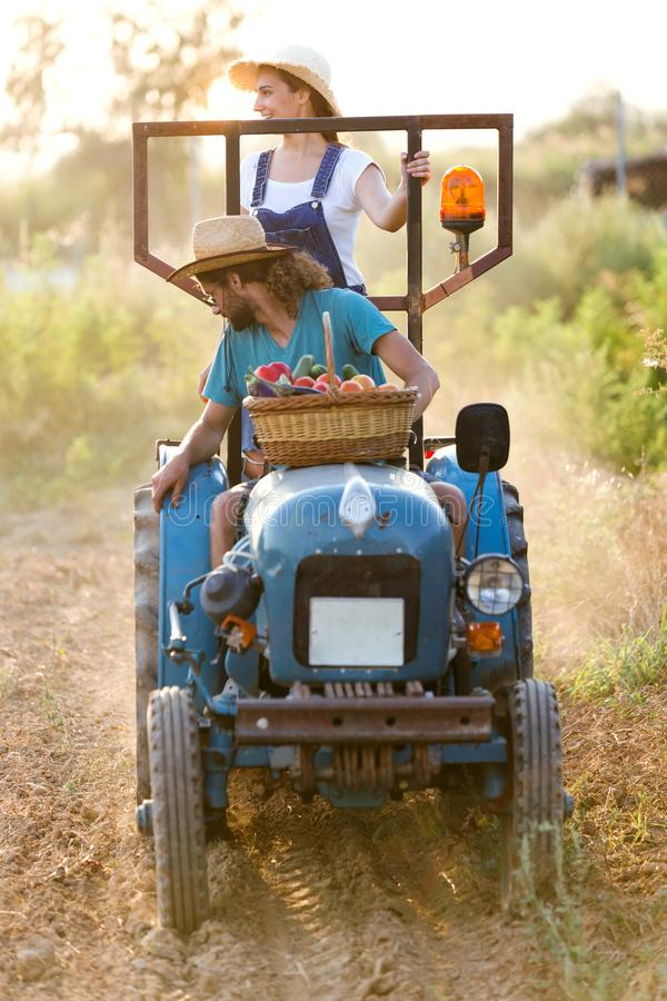 Farmer young couple in tractor preparing land with seed cultivator in the garden. royalty free stock image
