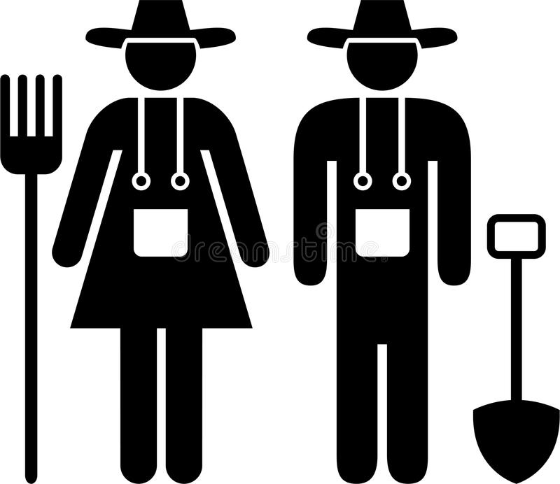 Farmers. Pictogram of a couple of farmers stock illustration