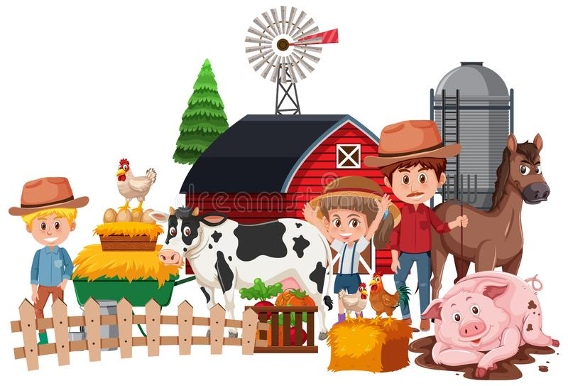 Farmers and animals on white background. Illustration stock illustration