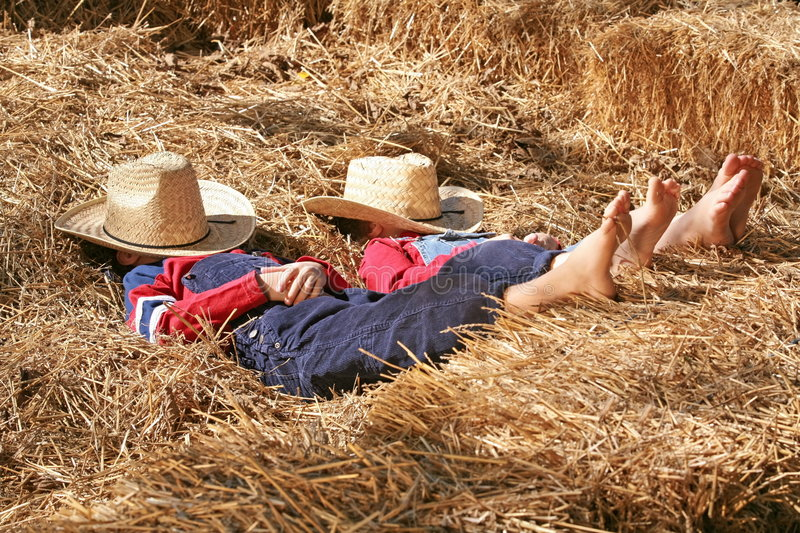 Farmers Asleep in the Hay stock images