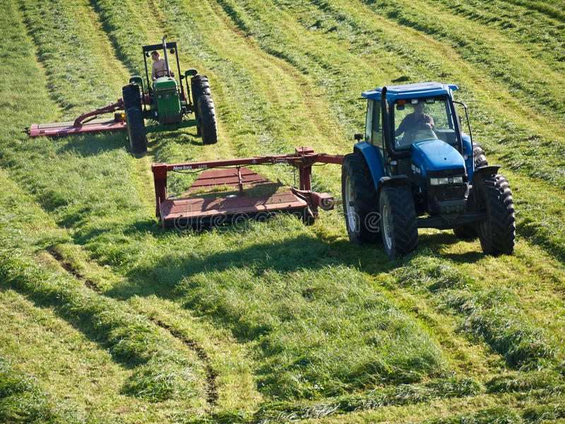 Farmers Cutting Hay with Tractors. A team of farmers in Vermont cut the last crop of hay of the season. Nice weather finally after Hurricane Irene destroyed a stock images