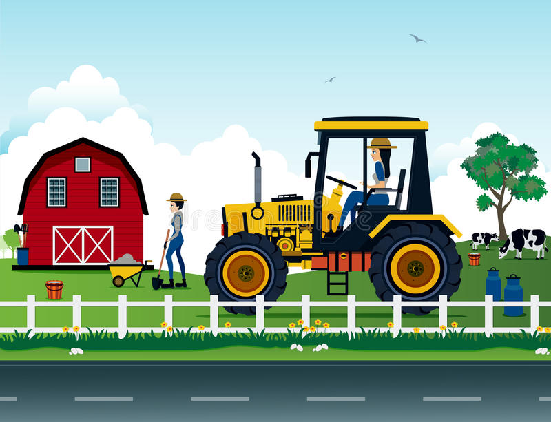 Farmers. Are driving a tractor on the farm royalty free illustration