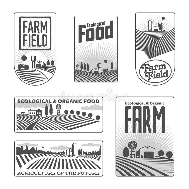Farmers with fields badges royalty free illustration