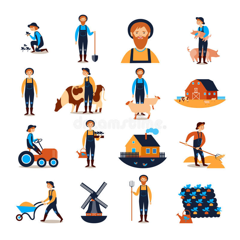 Farmers Flat icons Collection. Farmers live and work with farmhouse livestock animals and harvesting flat icons collection abstract vector illustration royalty free illustration