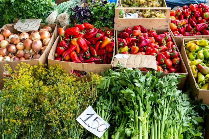 Farmers food market with fresh, varied, seasonal, organic vegetables and fruits. Bio food for healthy life. stock photo