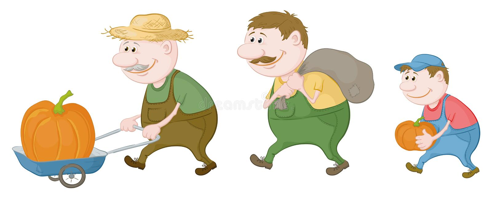 Farmers with the harvest of pumpkins royalty free illustration