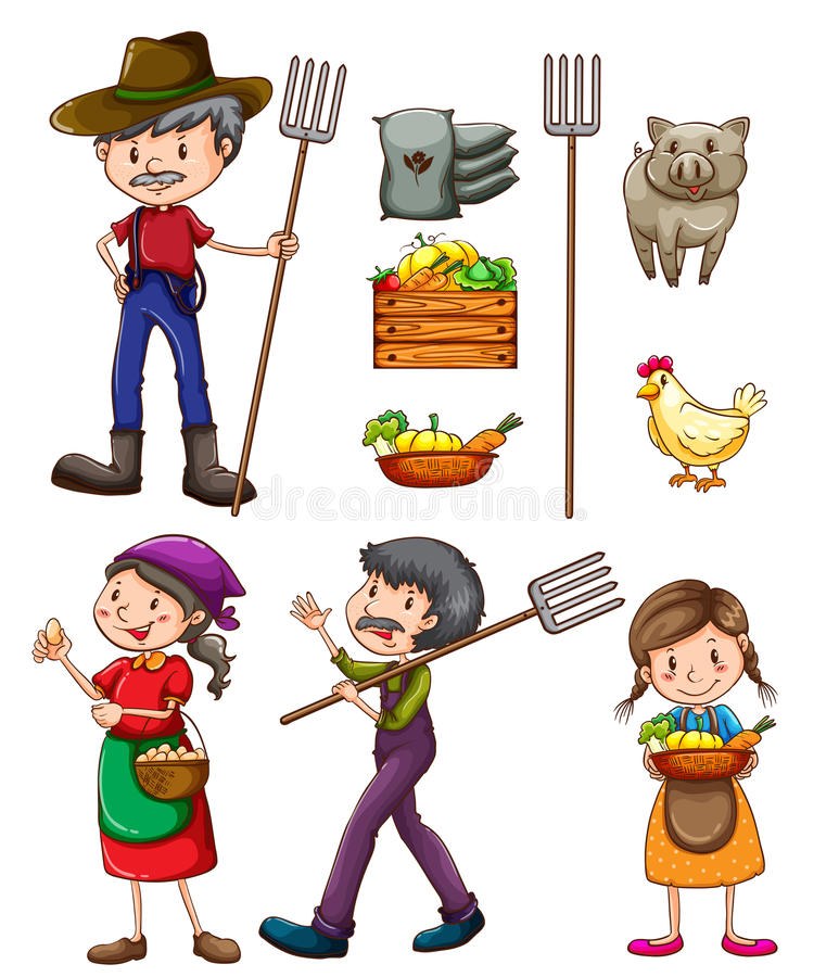 Farmers. Illustration of many farmers and products royalty free illustration