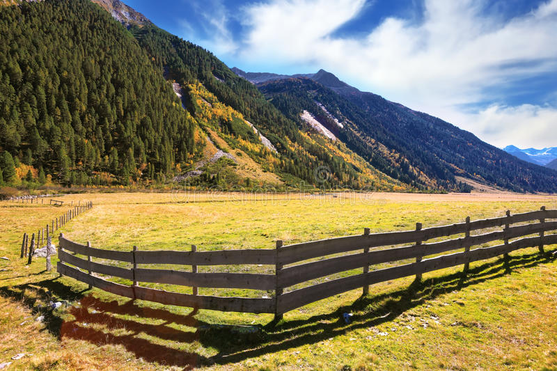 Farmers Low Wooden Fences Stock Photo