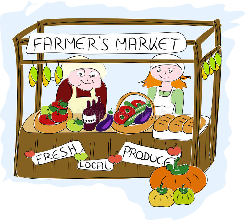 Farmers market. Illustration of stall at farmers market stock illustration