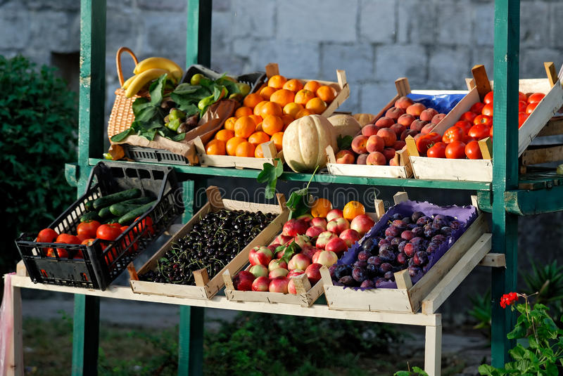 Farmers market. Fresh and organic vegetables and fruits at farmers market stock photo