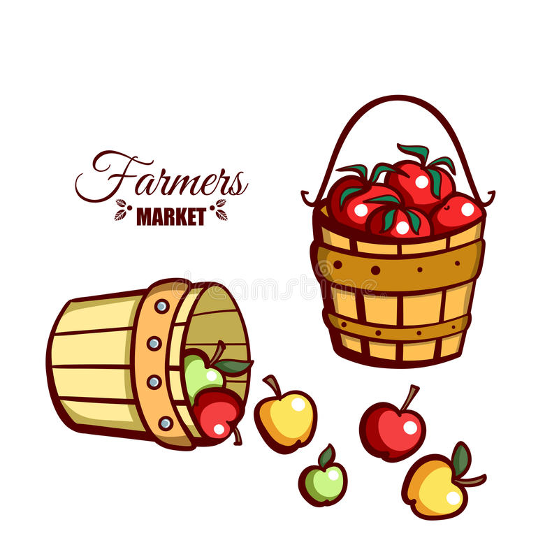 Farmers Market Apples Tomatoes. Farmers market. Local food. Basket of fresh apples and basket with tomatoes on white background. Hand drawn vector illustration royalty free illustration