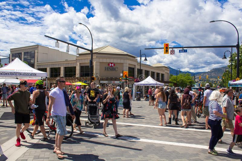 Farmers Market Canada day weekend. Farmers Market in downtown Penticton on Canada day weekend. Lots of people stock photos