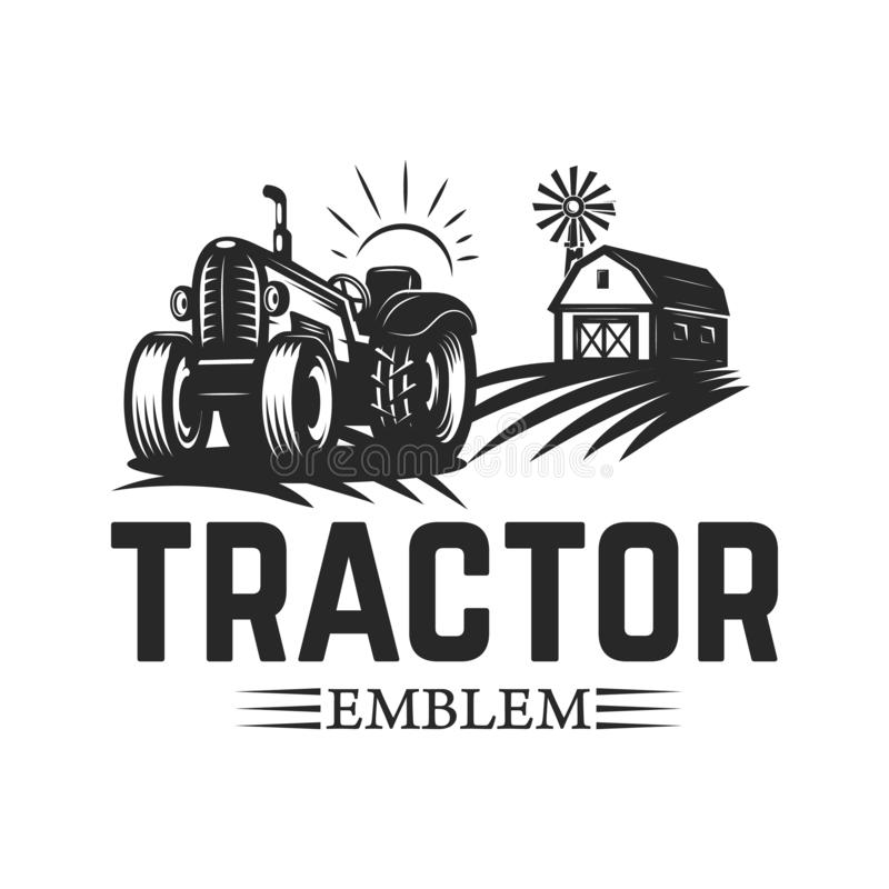Free Farmers Market. Emblem Template With Tractor. Design Element For Logo, Label, Emblem, Sign. Royalty Free Stock Image - 130673316