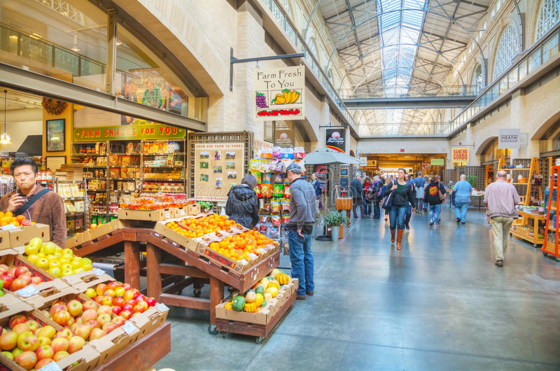 Farmers market hall inside the Ferry building in San Francisco royalty free stock image