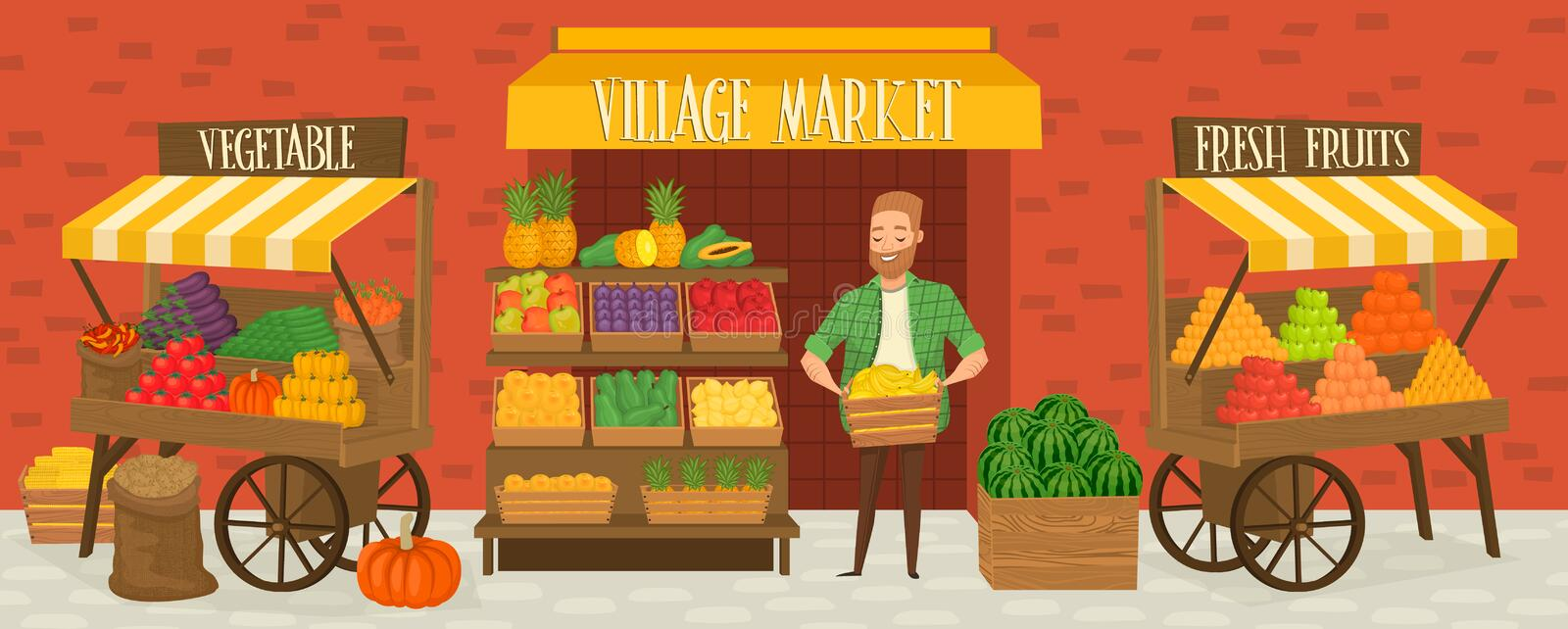 Farmers market. Local farmer shopkeeper. Seller fresh vegetables. Natural product. Village market. Food for a healthy lifestyle. Local shop. Vegetarian food royalty free illustration