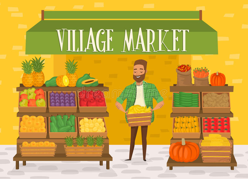 Farmers market. Local farmer shopkeeper. Seller fresh vegetables. Natural product. Village market. Food for a healthy lifestyle. Local shop. Vegetarian food vector illustration